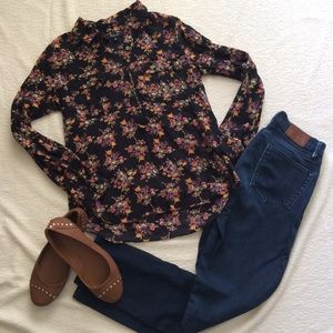 Madewell Floral 3/4 Button Long Sleeve